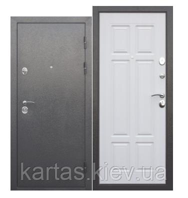Входная дверь  Аляска Серебро металл/ МДФ Белая Сосна