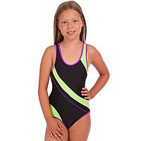 Детский слитный купальник для плавания для девочек Zelart Полиамид Эластан Черно-зеленый (СПО PL-02) 28