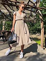Платье женское в горошек длинное бежевый, белый, красный, чёрный 42-44,44-46,46-48,48-50