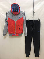 """Підлітковий спортивний костюм для дівчинки на манжетах """"Puma"""" 10-14 років, червоного кольору"""