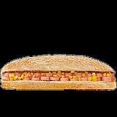 """Сендвич «Техас» с сосиской,кукурузой и соусом барбекю TM """"City Food"""" 280г(1ящ/12шт)"""