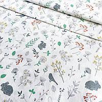 Сатин Корея растительный принт с зайчиками