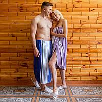 Махрове полотенце рушник на липучці (кілт-парео) 90х150 см