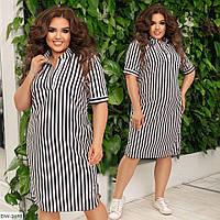 Свободное однотонное платье в полоску со стоячим воротником  Размер: 48-50, 52-54, 56-58, 60-62 Арт: 1026