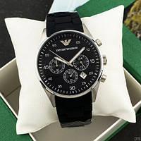 Кварцевые мужские часы Emporio Armani AR-5905 Silver-Black Silicone ( ААА )