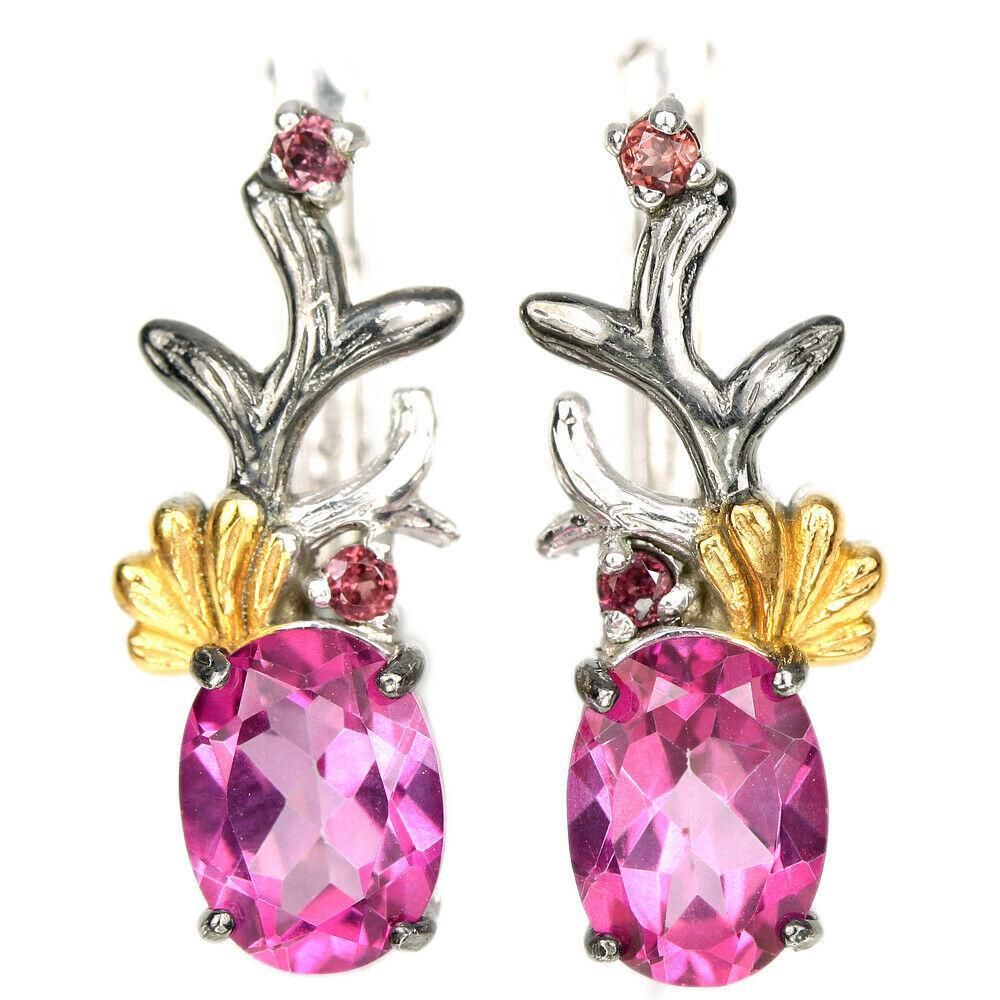 Срібні сережки з топазом рожевим, 1382СТ