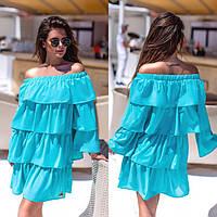 Женское стильное приталенное платье с рюшами, фото 1