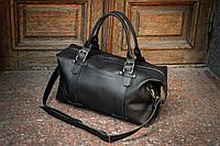 Спортивная кожаная сумка для ручной клади, Черная дорожная мужская кожаная сумка