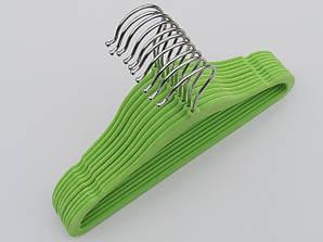 Плечики детские флокированные (бархатные) салатового цвета, длина 29,5 см, 10 штук в упаковке
