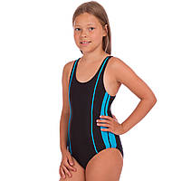 Детский слитный купальник для плавания для девочек Zelart Полиамид Эластан Черно-голубой (СПО 18021) 28