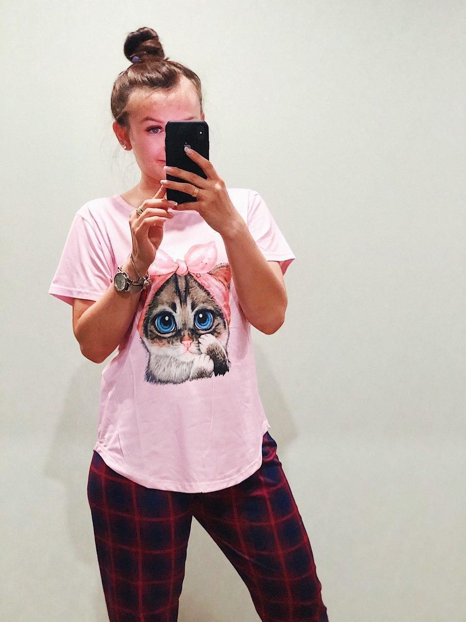 Пижама Трикотажная Футболка и  штаны Кошечка  Розовая