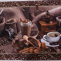 Вафельная ткань Кофе коричневая, c эффектом 3D, ширина 50 см