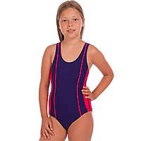 Детский слитный купальник для плавания для девочек Zelart Полиамид Эластан Сине-розовый (СПО 18021) 28