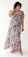 Яркое цветочное шифоновое платье с расклешенной юбкой 500, 52, 54, 56