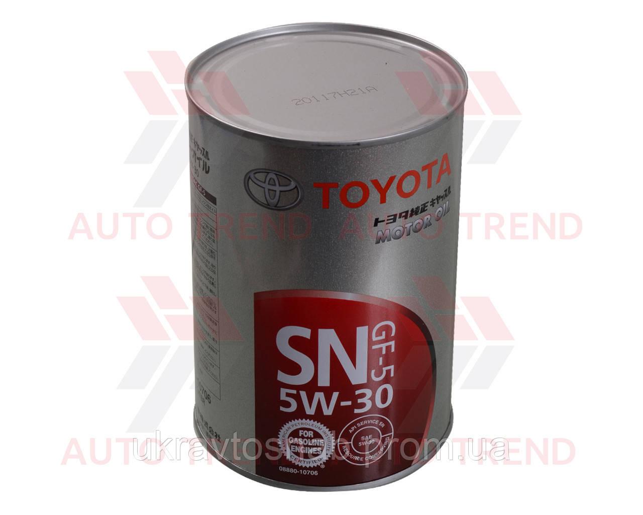 Масло моторное Toyota 5W-30 Motor Oil SN/GF-5 08880-10706 1л жесть, Япония