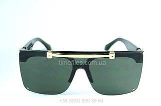 Жіночі сонцезахисні окуляри маска Louis Vuitton Темно-зелений AAA Copy