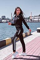 Спортивный женский костюм РОж2350 черный/Белый, фото 1