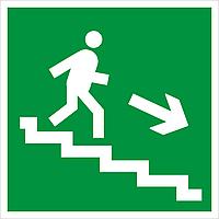 """Наклейка """"Евакуаційними сходами вниз праворуч"""""""
