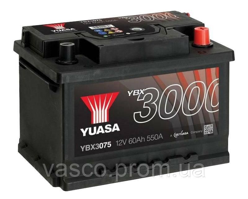Аккумулятор YBX3075 Yuasa 12V 60Ah 550A