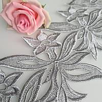 Кружевной фрагмент 12*13см, Silver 1шт