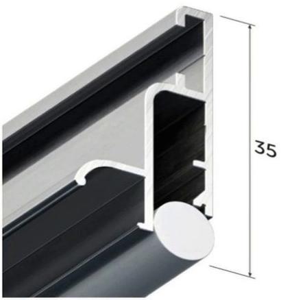 Профиль алюминиевый для натяжных потолков - профиль бесщелевой KRAAB 4.0 (+ шнур) 2 м