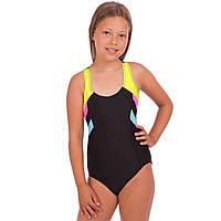 Детский слитный купальник для плавания для девочек Zelart Полиамид Эластан Черно-желтый (СПО 2035) 28