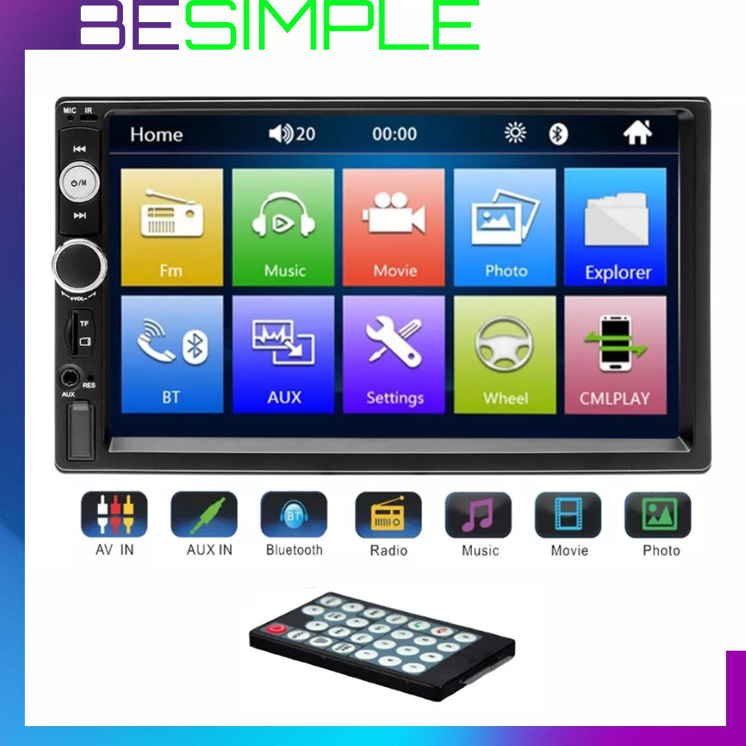 Автомагнитола 7010B 2 Din с Bluetooth FM и пультом / Сенсорный дисплей