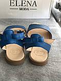 Синие босоножки из натуральной кожи, фото 3