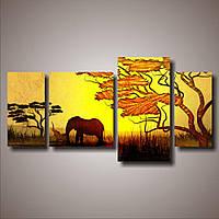Красивая комнатная модульная картина для декора в гостиную 4 в 1 Пара слонов, 137х70 см