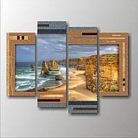 Красивая комнатная модульная картина для декора гостиной 4 в 1 Побережье Австралии, 106х80 см