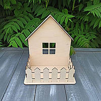 """Стильный деревянный ящик,корзина, кашпо """"Домик"""" для цветов, подарочных композиций, 28*18*32 см"""