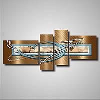 Современная модульная картина на холсте в гостиную 4 в 1 Морская тематика, 140х60 см