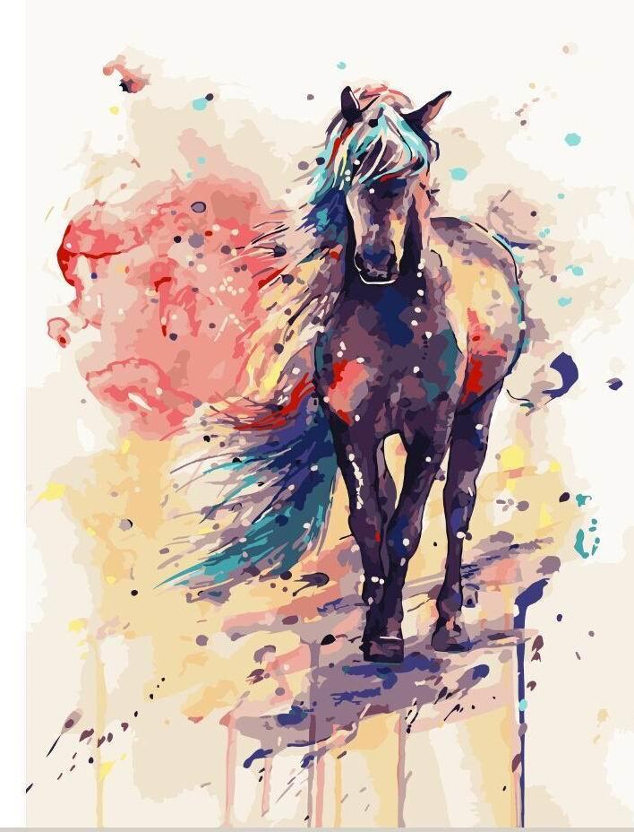 Картина по номерам 40х50см.G108 Фантастическая лошадь Brushme