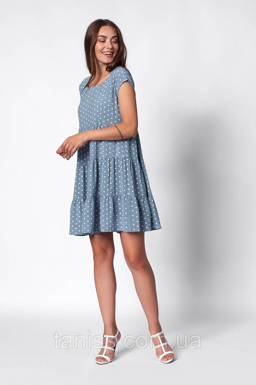 Прогулочное   летнее  платье, ткань софт ,размеры 42,44,46,48 ( 1263.1)  голубой, сукня