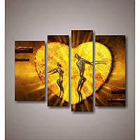 Стильный набор картин на холсте в спальню Золотое сердце, 129х95 см