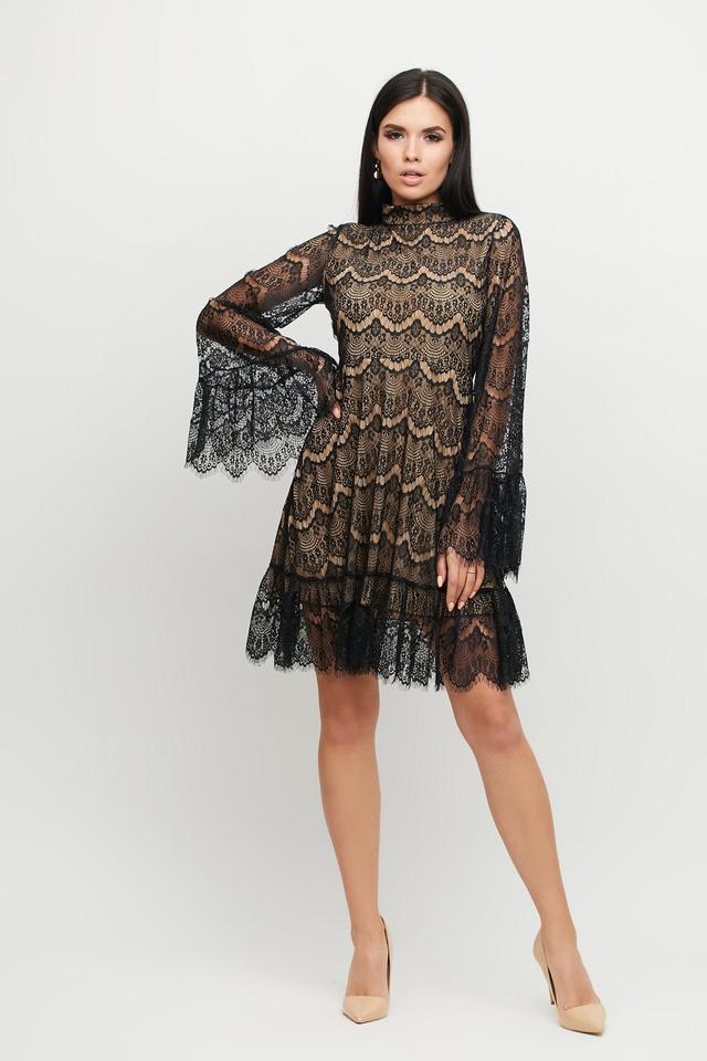 Гипюровое платье женское чёрное