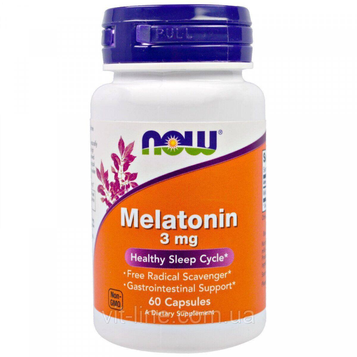 Now Foods, Мелатонин, 3 мг, 60 капсул