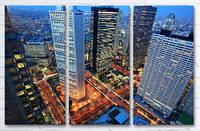 Модульная картина на холсте в гостиную 3 в 1 Токио 60х90 см