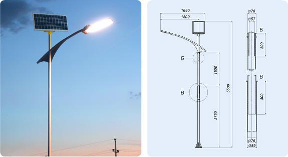 Светодиодный фонарь на солнечных батареях для автономного уличного освещения.