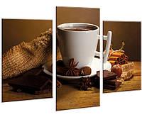 Красивая комнатная модульная картина на холсте для кухни Coffee AMD 101, 96х70 см