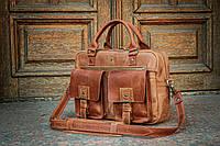 Мужская кожаная сумка для ноутбука, Портфель коричневый кожаный