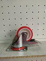 Полиуретановое колесо поворотное с тормозом 75 мм, полиуритановое, фото 1