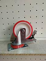 Колесо полиуретановое поворотное с тормозом 100 мм, полиуритановое, фото 1