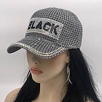 """Женская бейсболка """"BLACK"""" (серая)"""