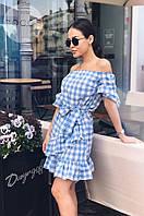 Женское летнее платье коттон темно-синий розовый голубой 42-44 44-46