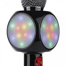 Микрофон караоке WSTER WS-1816 - беспроводной Bluetooth микрофон с cветомузыкой слотом USB и FM тюнером Черный, фото 3