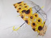 Женский  прозрачный зонт колокол трость 8 спиц  только подсолнух желтый