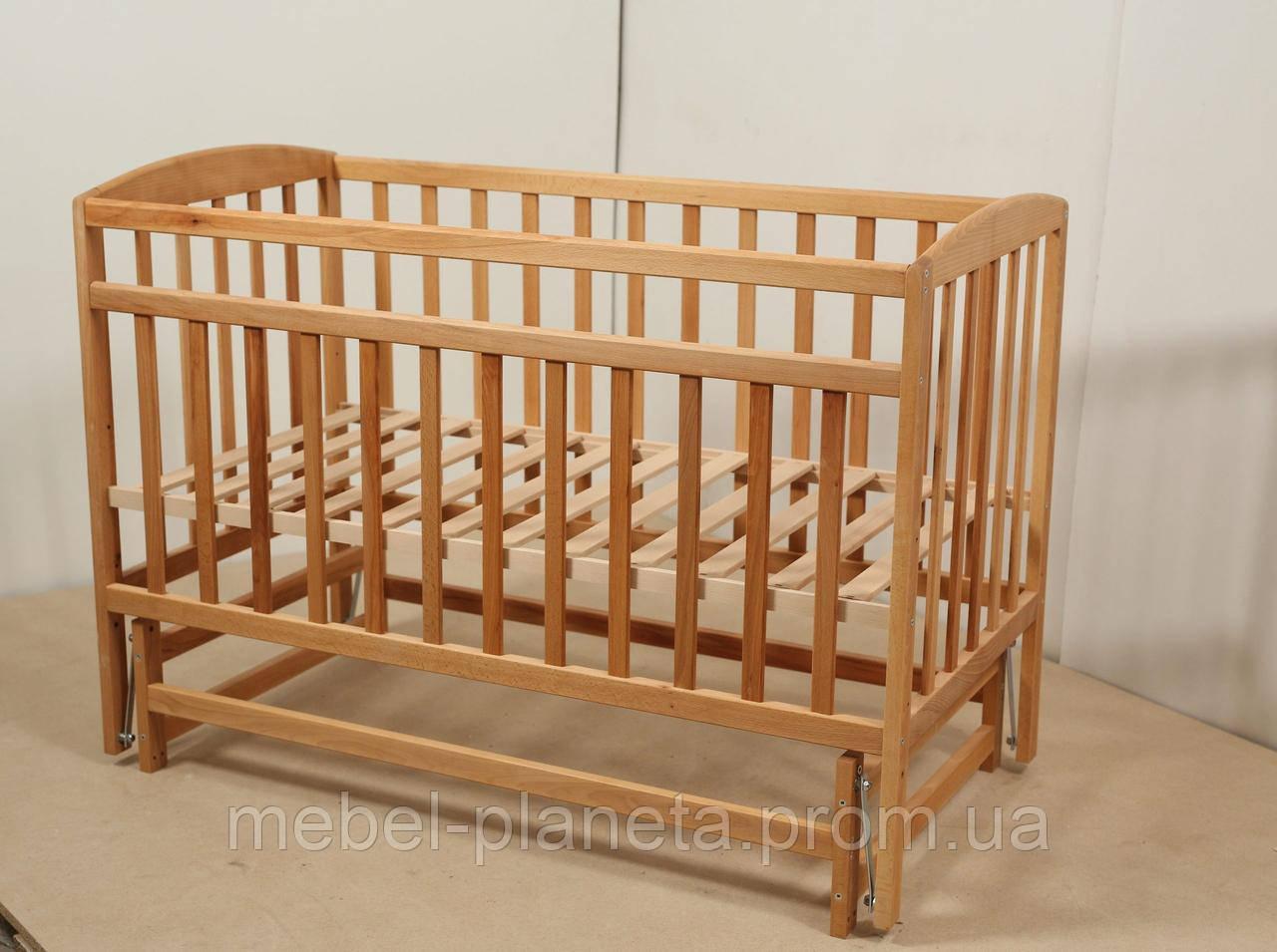 """Ліжечко для новонароджених """"VALERI Валері"""" на підшипниках (600*1200) (бук)"""