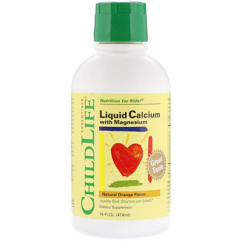 ChildLife, Жидкий кальций с магнием для детей вкус натурального апельсина, 474 мл