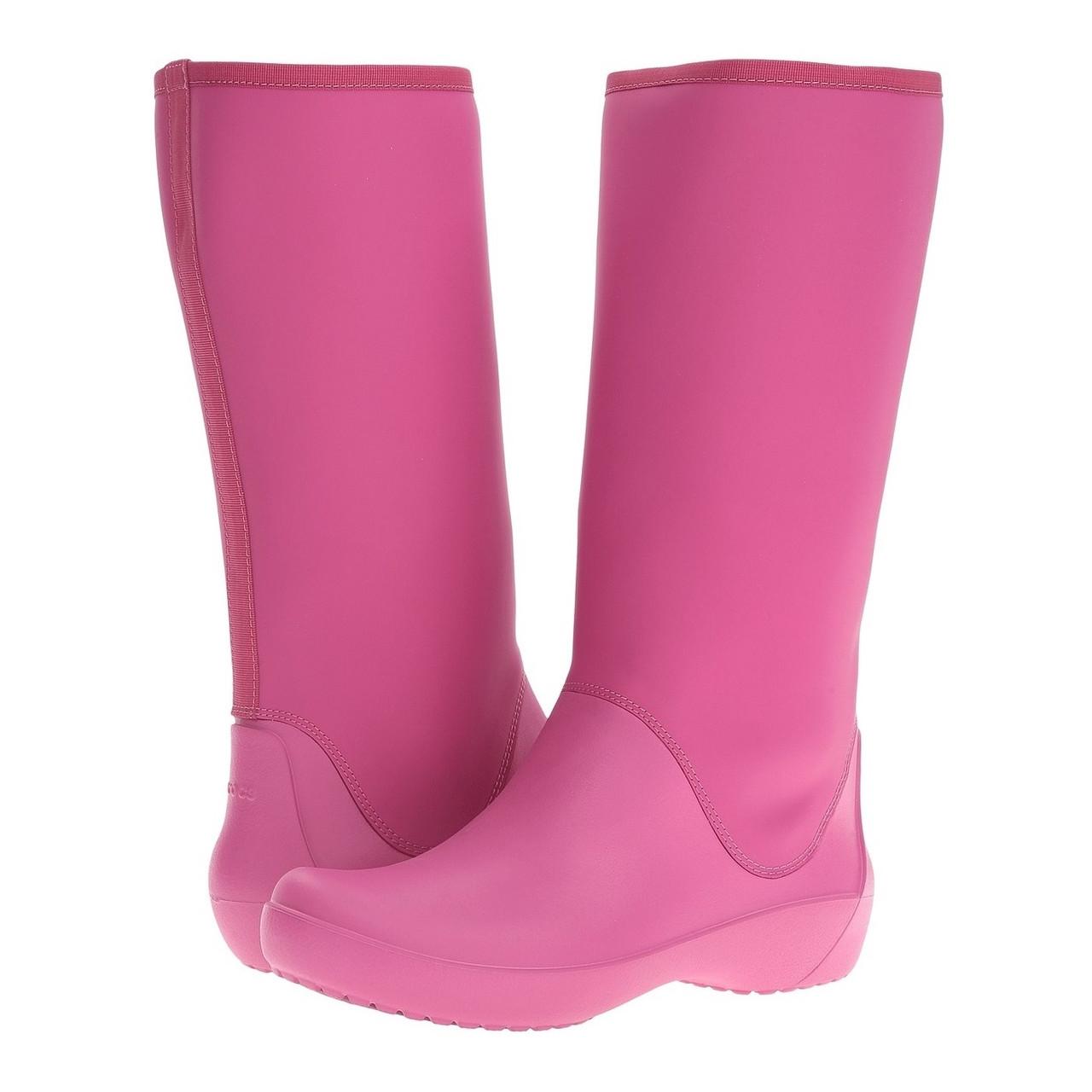 Сапоги резиновые женские высокие мягкие / Crocs Women's RainFloe Tall Boot (203416), Ягодные